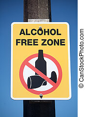 Alcohol Free Zone Sign - Alcohol free zone rectangular sign.