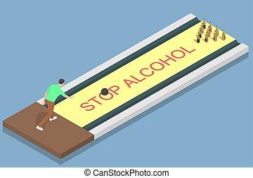 alcohol., gehen oben, mann, geben
