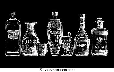 alcohol., getränk, flaschen, destilliert