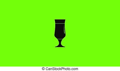 Alcohol icon animation best simple object on green screen background