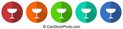 Alcohol icon set, red, blue, green and orange flat design web buttons isolated on white background, vector illustration