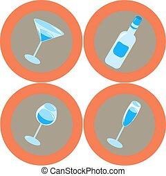 Alcohol icons 2 - Set of 4 Alcohol icons
