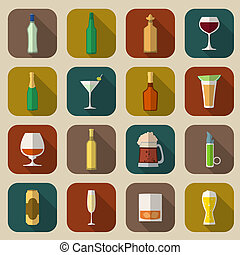 Alcohol Icons Flat - Alcohol drinks bottles and glass icons...