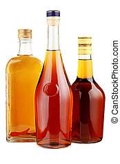 Alcohol in glass bottles.