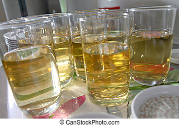 Alcohol in Many of glass.