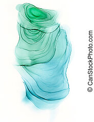 Alcohol ink abstract green and blue spot