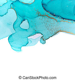 Alcohol ink blue and gold texture isolated on white background. Ocean style watercolor texture.