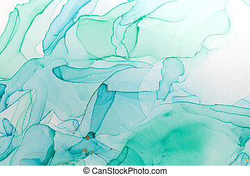 Alcohol ink blue and green abstract background. Ocean style watercolor texture.