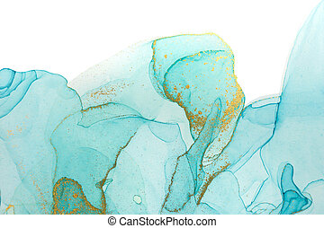 Alcohol ink blue and green transparent stains on white background.