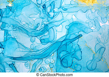 Alcohol ink blue transparent background. Ocean style watercolor drops texture.