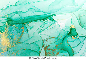 Alcohol ink green and gold abstract background. Transparent watercolor texture.