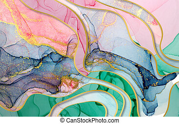 Alcohol ink green, blue and pink abstract background with golden layers. Ocean style watercolor texture.