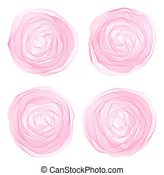 Alcohol ink pink flowers set on white background