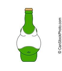 alcohol, isolated., ilustración, cerveza, vector, vientre, botella