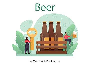 alcohol, jarra, jarrade cerveza, concept., arte, botella, vendimia