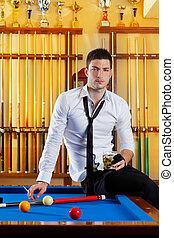 alcohol, jugador, billiard, bebida, guapo, hombre