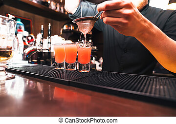 alcohol., koktél, eljárás, csapos, előkészítő, kavar