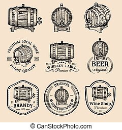 Alcohol logos. Wooden barrels set with drinks signs of...