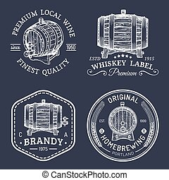 Alcohol logos.Wooden barrels set with drinks signs of...