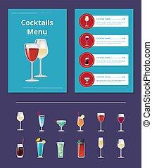 alcohol, menú, cócteles, diseño, anuncio, cartel