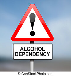 Alcohol misuse concept. - Illustration depicting red and...