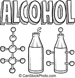 Alcohol molecule and bottle sketch
