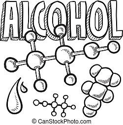 alcohol, molecule, schets