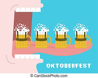 alcohol., oktoberfest, poster., large, beaucoup, national, boissons, grande tasse, bouche, beer., dents, homme, boire, vacances, ouvert, tongue., germany.