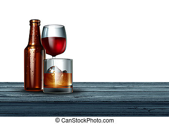 Alcohol On White Background