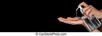 alcohol para frotar, covid, manos, gel, esparcimiento, brote, panorámico, 19, desinfectar, botella, bandera, coronavirus, sanitizer, prevention., mano, hygiene.