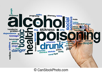 Alcohol poisoning word cloud concept on grey background