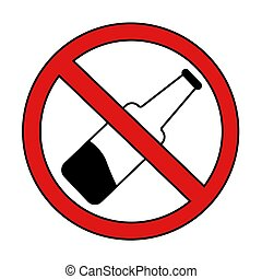 alcohol prohibition sign crossed out bottle. isolated vector illustration