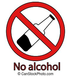 alcohol prohibition sign crossed out bottle. no alcohol. isolated vector illustration