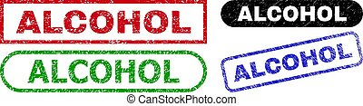 ALCOHOL grunge watermarks. Flat vector grunge watermarks with ALCOHOL message inside different rectangle and rounded forms, in blue, red, green, black color versions. Watermarks with corroded surface.