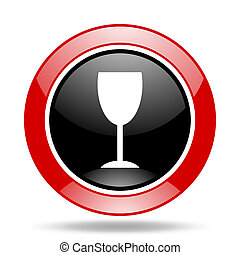 alcohol red and black web glossy round icon