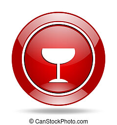 alcohol red web glossy round icon
