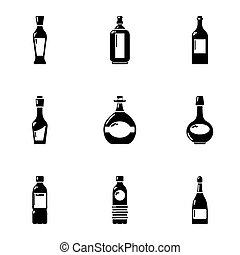Alcohol retort icons set, simple style - Alcohol retort...