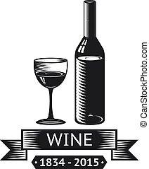 alcohol, símbolo, bebida, aislado, ilustración, vidrio, vector, botella, logotipo, vino, cintas, icono