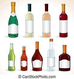 Glass Bottles with Various alcoholic drinks, vector clip art isolated on white