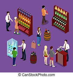 Alcohol Shop Interior with Wine Bottles, Customers and Seller. Isometric vector flat 3d illustration