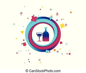 Alcohol sign. Drink symbol. Bottle with glass.