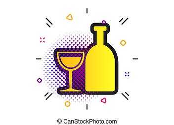 Alcohol sign. Drink symbol. Bottle with glass. Vector