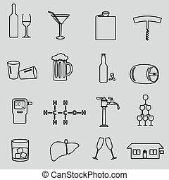 alcohol simple outline black icons set eps10