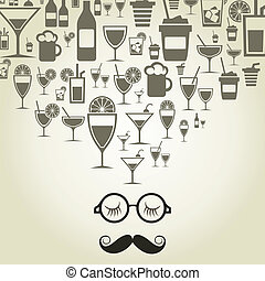 The man with a big moustache thinks of alcohol. A vector illustration