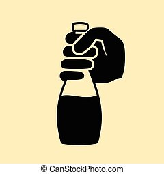 This is a hand holding a bottle