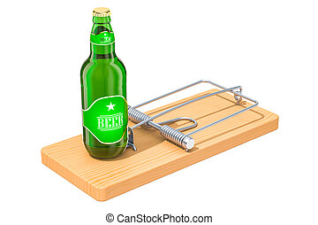 Alcohol Trap concept. Beer bottle in the mousetrap, 3D rendering