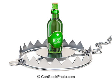 Alcohol Trap concept. Beer bottle in the trap, 3D rendering