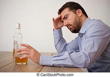 Alcohol, triste, malo, adicto, sentimiento, hombre