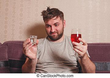 alcohol, verslaafd, man, kiezen, drank, voor, kater