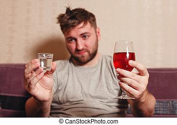 alcohol, verslaafd, man, na, hard, het drinken.